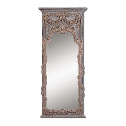 Grace Feyock - Grace Feyock Adalina Traditional Rectangular Mirror X-P 31341 - This stately mirror features an ornate vine and shell design finished in heavily antiqued gold leaf with burnished edges, dark gray wash and dark chestnut brown details.