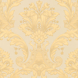 Metallic Gold Damask Wallpaper - Give your walls a traditional look with a modern flare with wallpaper from the Regent Collection by Brewster.