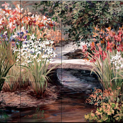 The Tile Mural Store (USA) - Tile Mural - Van Doussi Bridge - Kitchen Backsplash Ideas - This beautiful artwork by Laurie Snow Hein has been digitally reproduced for tiles and depicts a bridge over a small stream surrounded by colorful flowers.  This garden tile mural would be perfect as part of your kitchen backsplash tile project or your tub and shower surround bathroom tile project. Garden images on tiles add a unique element to your tiling project and are a great kitchen backsplash idea. Use a garden scene tile mural for a wall tile project in any room in your home where you want to add interesting wall tile.