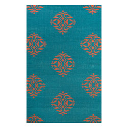 Jaipur Rugs - Flat-Weave Moroccan Pattern Wool Blue/Red Area Rug ( 8x10 ) - An array of simple flat weave designs in 100% wool - from simple modern geometrics to stripes and Ikats. Colors look modern and fresh and very contemporary.