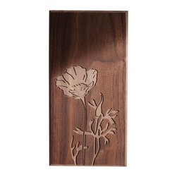 DMWR - Poppy Cutting Board - You don't have to be a Golden Gate resident to appreciate the beauty of this poppy cutting board by Dave Marcoullier. The splendid image of California's state flower is carved in solid walnut.