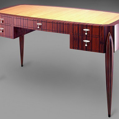Desk by Kent Townsend - Desk with pear top and ten sided tapered torpedo legs.