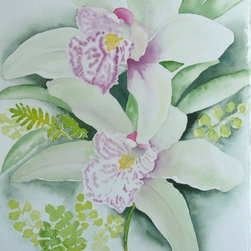 Orchid Greenery, Original Watercolor - There is so much to love about watercolor.  All of the shades and no color at all, with endless possibilities, even with only one image, we could explore it in infinite ways.