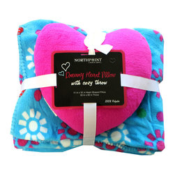 Four Seasons - Blue Flowers Dots Throw Blanket Heart Pillow Set - Features: