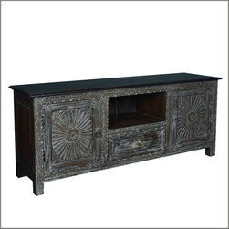 Reclaimed Wood Traditional TV Cabinet Media Console Entertainment Center -