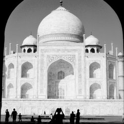 PrintedArt - Taj Tourist Photographer - Print is made with archival pigment inks for best color saturation and contrast with a 75-year guarantee against fading or discoloring. Mounted on light-weight but rigid aluminum dibond board to create a float-on-the-wall piece of art. Also available face-mounted with acrylic.