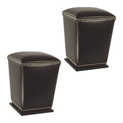 Safavieh - Safavieh Mason Brown Ottoman X-2TES-A8604DUH - The Mason ottoman marries form and function with sturdy construction, elegant tapered silhouette and chic nailhead trim. Sold in pairs, this pretty and practical set is crafted of Brown bicast leather with plinth bases of birch wood in Dark Brown finish.