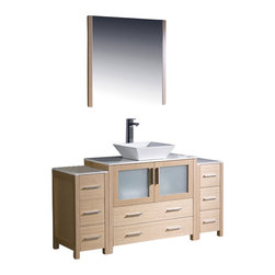 "Fresca - Fresca Torino 60"" Modern Bathroom Vanity w/ Two Side Cabinets & Vessel Sink - Li - Fresca is pleased to usher in a new age of customization with the introduction of its Torino line. The frosted glass panels of the doors balance out the sleek and modern lines of Torino, making it fit perfectly in either Town or Country dcor."