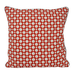 The Pillow Studio - Spark Red Betwixt Designer Fabric Pillow Cover with Slate Grey Piping - This textured pillow will become a subtle focal point to any room; it has a great geometric design and adds just the right amount of color.