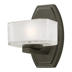 Z-Lite - Z-Lite Cabro Bathroom Light X-V1-9003 - This single light vanity lamp has uniquely cubed, frosted white inside and clear outside glass shades along with a bronze finish to refine this contemporary look.