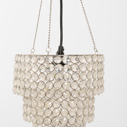Triple-Tiered Glass Bead Pendant - A sparkle, a little shine — the love starts young. Hang this light over the chair in a tween girl's room for a glamorous reading corner.