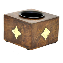 SouvNear - SouvNear Small Square Wooden Candle Tealight Holder with Diamond Shaped Motifs - * Cube shaped tealight candle holder, handmade in solid rosewood - good for a lifetime