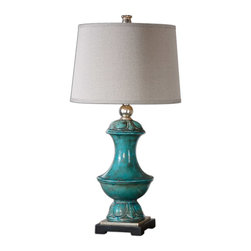 Uttermost - Lynden Aged Blue Lamp - A lamp with a back story you'll love to craft. This ceramic base with aged blue glaze and silver/ gray distressed accents sits on a pedestal, leaving you the option to make it front and center in any room you choose to illuminate.