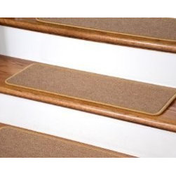 "Dean Flooring Company - Dean DIY Peel and Stick Serged Non-Skid Carpet Stair Treads - Golden Camel (13) - Dean DIY Peel and Stick Serged Non-Skid Carpet Stair Treads - Golden Camel (13) 27"" x 9"" Runner Rugs : Non-skid Peel and Stick   DIY Carpet Stair Treads   by Dean Flooring Company.    Extend the life of your high traffic hardwood stairs. Reduce slips/increase traction. Cut down on track-in dirt. Reduce noise. Add a fresh new look to your staircase. Helps you and your dog easily navigate your slippery hardwood stairs.   100% Polypropylene. Set includes 13 peel and stick carpet stair treads easy, do-it-yourself installation. Our all new exclusive adhesive peel and stick strips (not double-sided tape) make do-it yourself installation a breeze. Adhesive will NOT damage your hardwood flooring. Easy to remove if you later decide to remove your carpet stair treads. Adhesive strips come pre-applied.  No additional installation products needed. You choose the size from the drop down list.   Each tread is finished with attractive color matchng yarn. Rounded corners. This product is manufactured and sold exclusively by Dean Flooring Company.    Add a touch of warmth and style to your stairs today with new stair treads from Dean Flooring Company!"