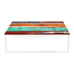 EcoChic Lifestyles - Oceanic Reclaimed Wood Coffee Table - A marvelous specimen, the Oceanic Coffee Table has more than enough room for anything you need close at hand. Shiny stainless steel legs hold up a large table top — the weathered boards are reclaimed from fishing boats that once plied tropical waters. A  one-of-a-kind anchor piece for your sitting room.