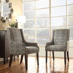 Inspire Q - INSPIRE Q Jourdan Blue Damask Sloped Arm Hostess Chair - This Kiefer hostess chair offers unparalleled comfort and style with sloping track arms and a deep,cushioned seat. This accent chair is a perfect addition to your home decor with a stunning pattern and stylish color scheme.