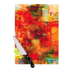 "Kess InHouse - Ebi Emporium ""Autumn Harvest"" Red Orange Cutting Board (11.5"" x 15.75"") - These sturdy tempered glass cutting boards will make everything you chop look like a Dutch painting. Perfect the art of cooking with your KESS InHouse unique art cutting board. Go for patterns or painted, either way this non-skid, dishwasher safe cutting board is perfect for preparing any artistic dinner or serving. Cut, chop, serve or frame, all of these unique cutting boards are gorgeous."