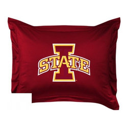 Sports Coverage - Iowa State Cyclones Locker Room Collection Pillow Sham - Show your team spirit with this officially licensed 25 x 31 Iowa State Cyclones sham. There is a 2 flanged edge that decorates all four sides of each Iowa State NCAA sham. Made of 100% polyester jersey mesh, just like the players wear, with screen printed Iowa State Cyclones logo in the center. Envelope closure in back. Fits standard pillow. Coordinates with Iowa State Locker Room Collection. 3 overlapping envelope closure is on back.