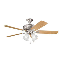 """BUILDER FANS - BUILDER FANS Saxon Premier 52"""" Transitional Ceiling Fan X-SSB104933 - An updated look to a traditional shape thanks to the clean, contemporary and light finishes, this Kichler Lighting ceiling fan is a perfect addition to a variety of rooms. The Brushed Stainless Steel finish compliments the airy tones of the reversible oak blades and the look is finished with four satin etched glass shades."""