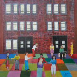 """""""SMALL CROWD OF PEOPLE"""" Original painting - Susan Louise Darnell, photographer"""