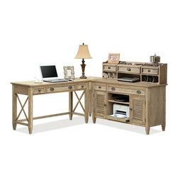 Riverside Furniture - Riverside Furniture Coventry L-Shape Office Set in Weathered Driftwood - Riverside Furniture - Computer Desks - 3242X4PKG