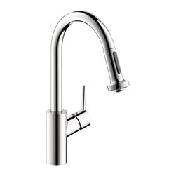 Hansgrohe - Hansgrohe 4286000 Talis S 2 Prep Kitchen Faucet w/ 2 Spray Pull Down in Chrome - 2 Prep Kitchen Faucet w/ 2 Spray Pull Down in Chrome belongs to Kitchen Collection by Hansgrohe In homes today, theres a place undergoing a radical transformation of uncompromising style-- the kitchen. This is the second most occupied place in modern dwellings. Hangrohes Talis S Prep kitchen faucet offers remarkable functionality with individual personality and style. Innovative features such as the M2 velvety smooth ceramic cartridge valve, the quiet, nylon pull-out hose and the ergonomic, two-function spray head make this the top choice in faucets. The modern design of the Talis S Prep kitchen faucet coordinates flawlessly with any kitchen decor. The Talis S Prep's solid brass construction is finished with a smooth chrome finish. The improved handle design prevents interference with the backsplash while the faucet's high spout and pull-down spray are perfect for cleaning large cookware, preparing food and cleaning.  Faucet (1)