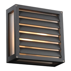 "PLC - Moritz 9 3/4"" Square Bronze Outdoor Wall Light - Add handsome style to your home's exterior with this square bronze finish outdoor wall light. The hard-edge metal face lets light escape through the front bottom and sides diffused by warm frost glass. Ideal for illuminating porches patios decks and more. This outdoor wall fixture is ADA compliant. Modern outdoor wall light. Metal construction. Bronze finish. Frost glass diffuser. Maximum one 60 watt bulb (not included). 9 3/4"" square. Extends 3 3/4"". ADA compliant.  Modern outdoor wall light.   Metal construction.   Bronze finish.   Frost glass diffuser.   Maximum one 60 watt bulb (not included).   9 3/4"" square.   Extends 3 3/4"".   ADA compliant."