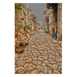 China - Cobblestone Street, Limited Edition, Photograph - I took this photograph in Yangmei China of a back alley filled with interesting Chinese people that live there. On this cobblestone street, you can see some of the old bamboo yokes and Bonsai Trees along side the alley.  This limited edition print is signed on the back, unless you specify you want me to sign on the front, and comes with a certificate of authenticity.  Custom printed on Canson Infinity 2273 Baryta Photographique Inkjet Paper. In my opinion, the highest professional fine art paper you can buy, with a very heavy fiber count, and wonderful full range of gray scale and color tones.   Fine art print only No frame