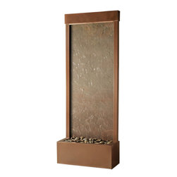 Bluworld - 4' Gardenfall Fountain - Coppervein & Slate - If you've ever wanted to infuse your home or office with the natural sight and sound of a waterfall, the 4' Rear Mount Gardenfall in Copper Vein with genuine Slate may be just what you need. This compact 4 foot tall water fountain can fit in any space. The contemporary design, including a warm copper vein powder coat finished frame and natural rajah slate panel, will help modernize your space.Quiet operation and durable materials make this water fountain suitable for both indoor and outdoor use.Installing this beauty won't raise your stress level either. It can be installed easily with no special tools in no time, so there won't be much of a wait from the time it's delivered to your door until the time you are relaxing beside it and appreciating its modern yet timeless charm. Bring the 4' Slate and Copper Vein Gardenfall into your life and enjoy its peaceful rewards.This fountain ships with an adjustable pump and polished river rocks. This water feature can be customized with your logo.