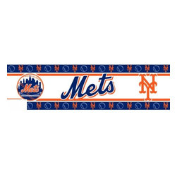 Sports Coverage - MLB New York Mets Self Stick Wall Border - It's so quick and amazing, just peel and stick! Self-stick, removable, and reusable MLB New York Mets Wall Borders are the easy way to decorate and won't damage walls! Peel and Stick technology will adhere to any smooth surface. Washable and dry strippable. Colorful graphics are printed on durable, tear-resistant vinyl wall border in the repeating pattern shown. Size: 5 x 15' long per package. It's so quick and amazing, just peel and stick! Installation has never been so easy!