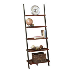 Convenience Concepts - Convenience Concepts American Heritage Bookshelf Ladder X-CF-1933408 - The clean lines and attractive wood grain veneer make the American Heritage furniture the perfect choice.  The 8043391 Bookshelf Ladder features classic American styling that will fit any d&#233:cor.