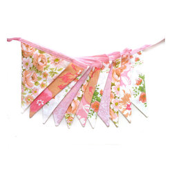 Vintage Retro Pink, Peach And Lace, Floral Flag Bunting By MerryGoRoundHANDMADE