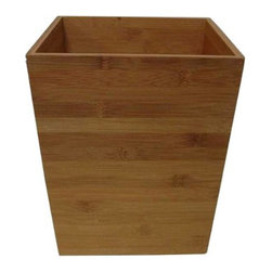 Thomas O'Brien® Carbonized Bamboo Wastebasket - This beautiful Thomas O'Brien wastebasket looks like it cost one hundred bucks, but it's really more like twenty. The bamboo wood and clean lines make it perfect for a clean-lined, organized home office or zen, spa-like bathroom.