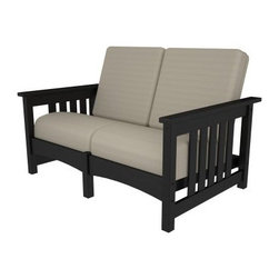 POLYWOOD® Mission Settee - Black / Birds Eye - Built for two, or just for you, the POLYWOOD Mission Settee - Black / Birds Eye provides a luxuriously peaceful spot for outdoor R&R. Fade-resistant black POLYWOOD recycled lumber frame is complemented perfectly by marine grade cushions that resist weather, salt, sun, and mildew. Cushions are designed to dry quickly. POLYWOOD looks like wood but offers unbeatable durability and is eco-friendly. It will never chip, splinter, crack, or peel. You won't need to paint, stain, sand, or waterproof this settee, which means more leisure time for you. Salt spray, humidity, extreme weather, insects, mildew, and corrosive agents can be unkind to wood, but POLYWOOD won't flinch at these conditions. Stainless steel hardware is extra sturdy. Since POLYWOOD resists stains and cleans easily with soap and water, you won't need to worry about spilled wine or condiments. A 20-year limited residential warranty or 1-year limited commercial warranty backs this durable piece. POLYWOOD furniture is made in the USA.About Poly-WoodThe advantages of Poly-Wood Recycled Plastic are hard to ignore. Poly-Wood absorbs no moisture and will NOT rot, warp, crack, splinter, or support bacterial growth. Poly-Wood is also compounded with permanent UV-stabilized colors, which eliminates the need for painting, staining, waterproofing, stripping, and resurfacing. This material is impervious to many substances, including salt water, gasoline, paint, stains, and mineral spirits. In addition, every Poly-Wood product comes with stainless steel hardware.Poly-Wood is extremely easy to clean and maintain. Simple soap and water is all you need to get rid of dirt and make your furniture look new again. For extreme cleaning needs, you can use a 1/3 bleach and water solution. Most Poly-Wood furnishings are available in a variety of classic colors, which allow you to choose your favorite or coordinate with the furniture you already have. This is sure to be a piece that you will be proud to own for a lifetime.
