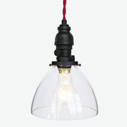 Hand Blown Glass Industrial Rustic Pipe Pendant Light – Red Cloth Cord