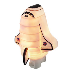 Children`s NASA Space Shuttle Night Light Nite Lite - This NASA space shuttle night light adds a decorative accent to your future astronaut`s room while illuminating the nighttime hours. Made of cold cast resin, it measures 6 inches tall, 4 1/2 inches wide, and 3 inches deep. It has a 360 degree swivel plug to accommodate any outlet, and it uses a 7 watt (max) type C night light style bulb (included). The light has an on/off switch on the front, and is recommended for children ages 6 and up.