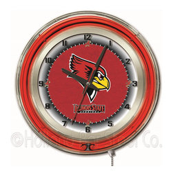 Holland Bar Stool - Holland Bar Stool Clk19IllStU Illinois State 19 Inch Neon Clock - Clk19IllStU Illinois State 19 Inch Neon Clock belongs to College Collection by Holland Bar Stool Our neon-accented Logo Clocks are the perfect way to show your school pride. Chrome casing and a team specific neon ring accent a custom printed clock face, lit up by an brilliant white, inner neon ring. Neon ring is easily turned on and off with a pull chain on the bottom of the clock, saving you the hassle of plugging it in and unplugging it. Accurate quartz movement is powered by a single, AA battery (not included). Whether purchasing as a gift for a recent grad, sports superfan, or for yourself, you can take satisfaction knowing you're buying a clock that is proudly made by the Holland Bar Stool Company, Holland, MI. Clock (1)