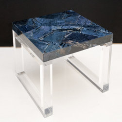 Dumortierite Table Top - A small coffee table made out of Indigo (dumortierite) from our gemstone surfaces collection.