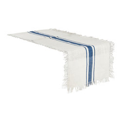 "Saro - Striped Jute Table Runner, Navy Blue - 20x90"" - Striped Jute Table Runner, Navy Blue - 20x90"""
