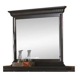 Pulaski - Pulaski Brookfield Mirror in Ebony Finish - Pulaski - Mirrors - 993110 - The Pulaski Brookfield collection provides an understated traditional look for customers with a classic sense of style. The paneled surfaces grand scale drop bail hardware stately pilasters and dentil crowned entablatures are the signature of fine furniture. While traditional in style it is modern in function with ample storage practical features and bed benches to serve the needs of how people live today.