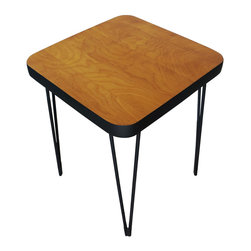 Mid-Century Hairpin table - This Mid-Century style side table features a clear-coated maple veneered plywood top, rounded corners and hairpin legs that have been refinished in matte black. The bottom part of the legs have been rubber coated to protect your floors from scratching.