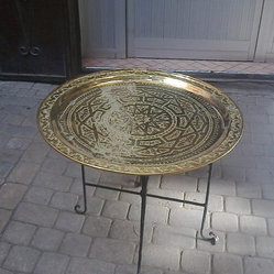 brass table with portable legs