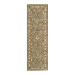 """Nourison - Nourison India House IH76 2'3"""" x 7'6"""" Sage Area Rug 00187 - Expert color sense combines a modern palette of muted sage, peach, azure and ivory with the visual appeal of age-old Persian motifs. The soft patina is as inviting to the touch as it is to the eye. A rug of remarkable finesse."""