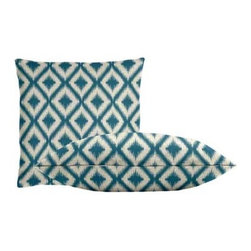 """Cushion Source - Ikat Fret Tourmaline Throw Pillow Set - The Ikat Fret Tourmaline Throw Pillow Set consists of 18"""" x 18"""" throw pillows with a globally-inspired diamond ikat pattern in turquoise on a cream background."""