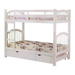 "ACMACM02354-2356 - Heartland White Finish Wood Twin Over Twin Bunk Bed Set with Trundle - Heartland White Finish Wood Twin Over Twin Bunk Bed Set with Trundle. Measures 81"" x 43"" x 67""H. Some assembly required."
