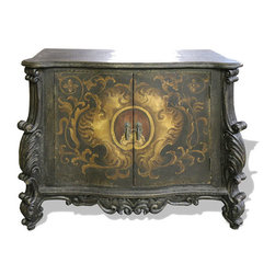 Antiqued Old World Buffet, French Black Crackled with Gold Scrolls - Antiqued Old World Buffet, French Black Crackled with Gold Scrolls