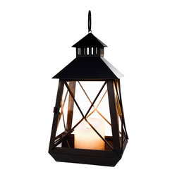 Pier Surplus - Large Black Stagecoach Lantern - Metal & Glass Hanging Candle Lantern #CL229312 - This traditional stagecoach lantern design will please history buffs! Made from high-quality metal that has been finished in black and treated for durability, this candle lantern adds a rustic flair to any outdoor entertaining area. Its clear glass windows are accented by criss-crossing metal strips. Group it with several stagecoach lanterns to add a dramatic look to any evening, or hang one in a central spot and let it shine.