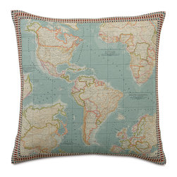 Kai Decorative Pillow - Take off with our flight-inspired Kai! From airmail bolsters to opening envelope pillows, postage stamp designs to hand-painted air balloons, this is the bed of every little pilot's dreams.