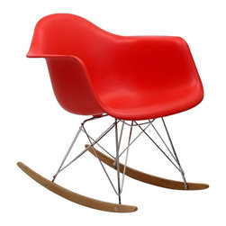 Modern red plastic rocking chair Boden - Modern red plastic rocking chair Boden features the sleek steel and wood red plastic rocker base, which is the perfect way to relax. It is a high quality piece, fresh and elegant with a distinctively updated appeal. Simple, clean lines and a bright red color  make the rocking chair Boden perfect for home or office.