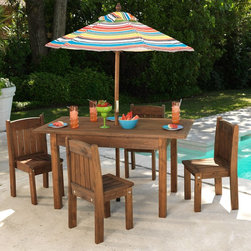 KidKraft 00046 Kids Outdoor Table & Stacking Chairs with Striped Umbrella - I've seen a lot of these, but the built-in umbrella makes this set awesome.